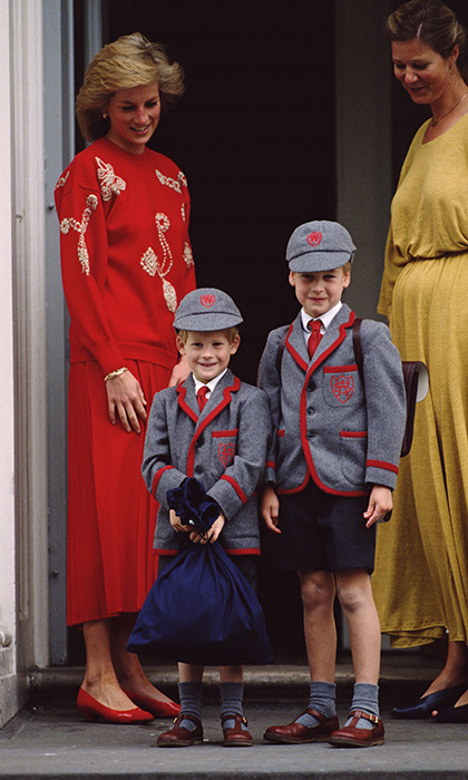 With his big brother by his side, Prince Harry was ready for his first day of school in 1989.