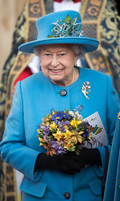 Queen Elizabeth's hat complimented her bouquet during the annual Commonwealth Day service.