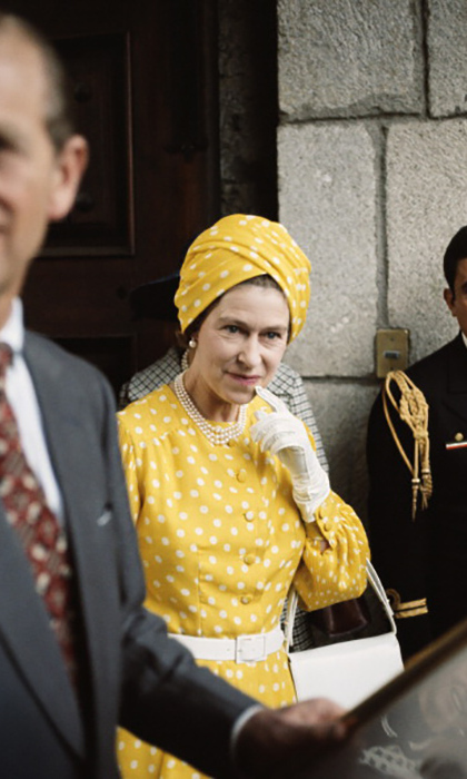 Queen Elizabeth sported polka dots from head to toe during her trip to Mexico in 1975.