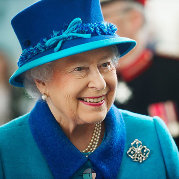 Queen Elizabeth matched her hat with her collar while attending the Chapel in Pembroke Dock.  