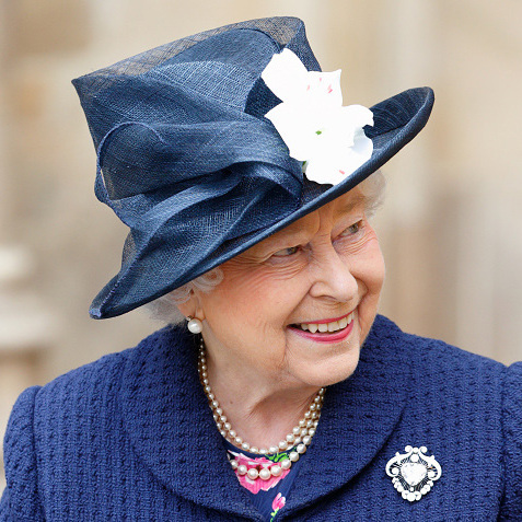 Queen Elizabeth chose this pretty blue creation for the 70th Anniversary of VE Day at Westminster Abbey.