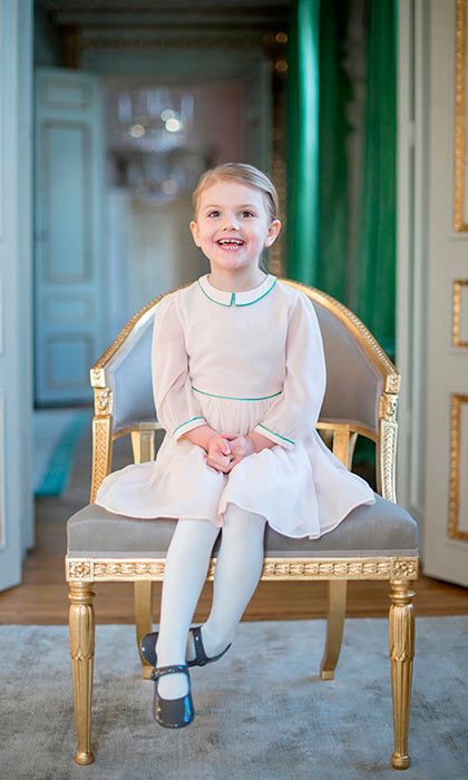 The second-in-line to the Swedish throne looked adorable in a sweet pink dress and patent leather Mary Jane shoes as she posed for a portrait marking her fourth birthday.