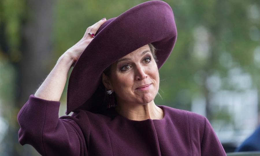 Maxima wore a purple topper, that matched her suit, during the 10th International Hands On conference in Amsterdam.