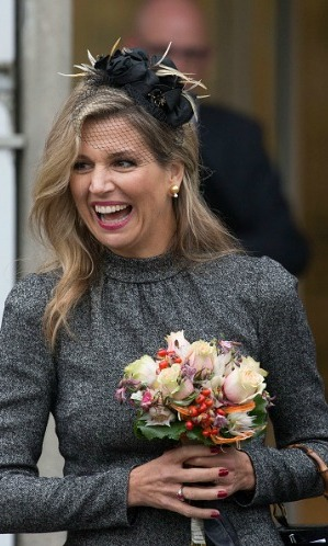 Maxima decided to wear a black lace veil during her visit to the mining facilities in Geleen, Netherlands.