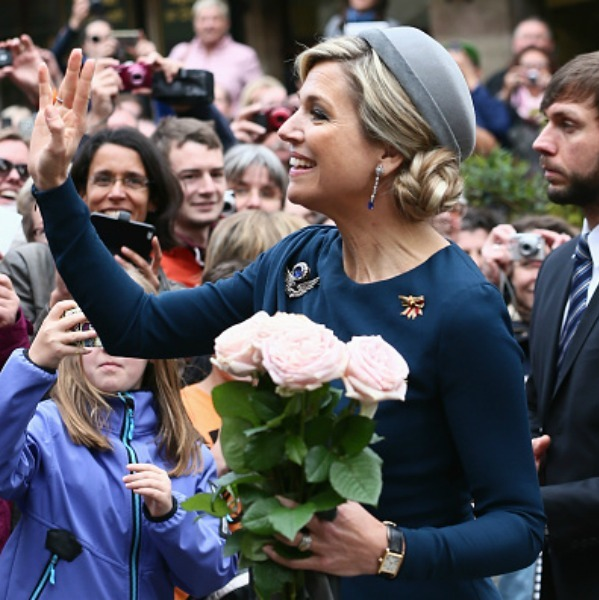 Maxima wore a small grey hat during her arrival to  Nuremberg, Germany.