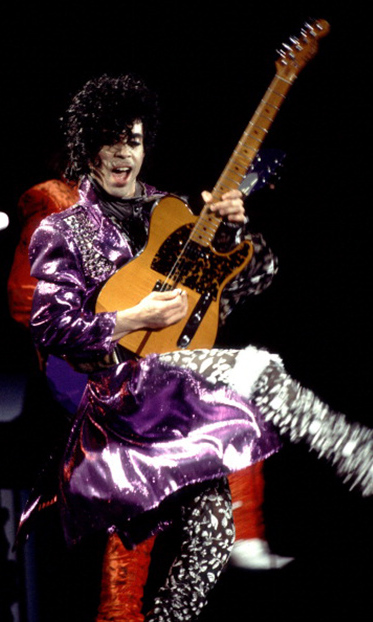 The 'Purple Rain' megastar on stage in 1984. 