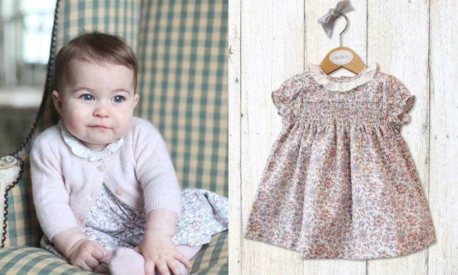 The young royal looked pretty in pink for her first solo portraits that came out in December 2015. In the cute snaps, taken by Kate Middleton, the little girl wore a floral dress from Spanish shop m&h. The dress retails at $30.