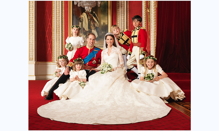 William and Kate with their pageboys and flower girls (clockwise from bottom right) Margarita Armstrong-Jones, Eliza Lopes, Grace van Cutsem, Louise Windsor, Tom Pettifer, William Lowther-Pinkerton. The photos was taken in the throne room at Buckingham Palace.