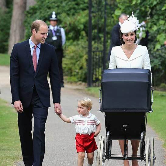 "The princess made her first public appearance with George and her family <a href=""us.hellomagazine.com/royalty/2015070526117/royal-family-arrives-for-princess-charlotte-christening/""><strong>on the day of her christening on July 5.</strong></a> Charlotte wore the same lace christening gown that George had worn in 2013 and was surrounded by close family and her five godparents for the intimate service at St. Mary Magdalene Church in Sandringham.