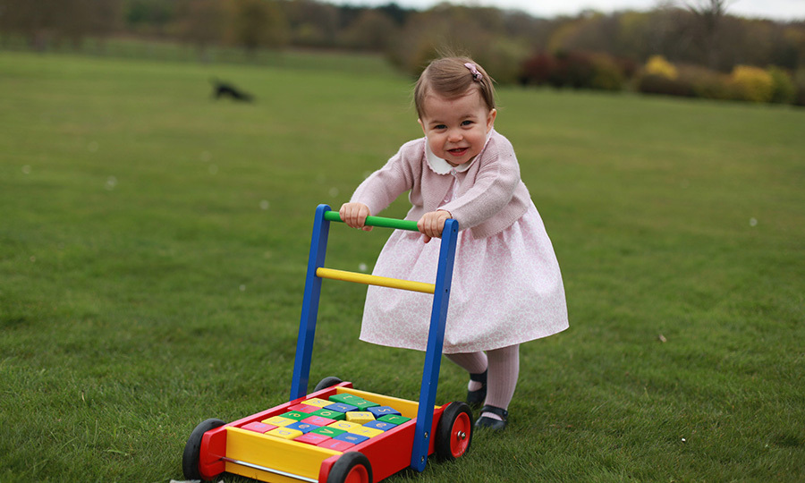The little royal showed off what a big girl she is by walking with a Pintoy walker at her parent's home in Norfolk.