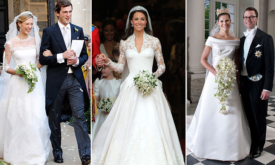 When you are dreaming of fairytale nuptials, what better inspiration than a look at some real princess brides! Here are 16 of our favorite royal wedding gowns.