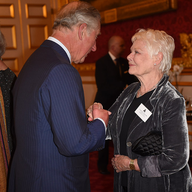"Prince Charles greeted <a href=""http://us.hellomagazine.com/tags/1/dame-judy-dench/""><strong>Dame Judy Dench</strong></a> during a reception at St. James's Palace for British Oscar winners.