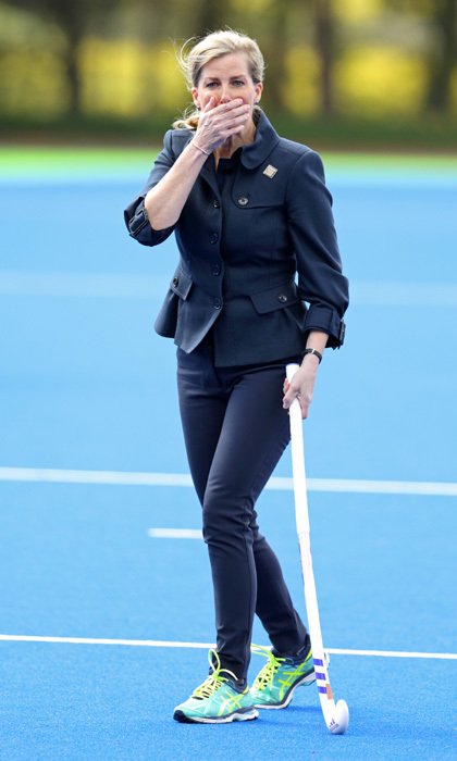 Ooops! The Countess of Wessex looked like she might have missed by a long shot while playing field hockey during a visit to England Hockey at the Bisham Abbey National Sports Centre.