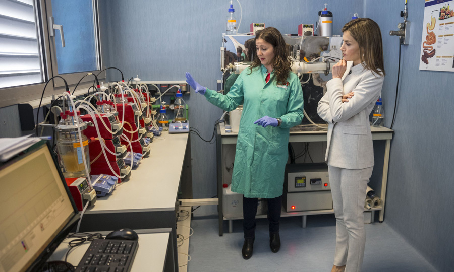 Queen Letizia of Spain is impressed by the technology and staff during a visit to the Institute of Food Science Research in Madrid.