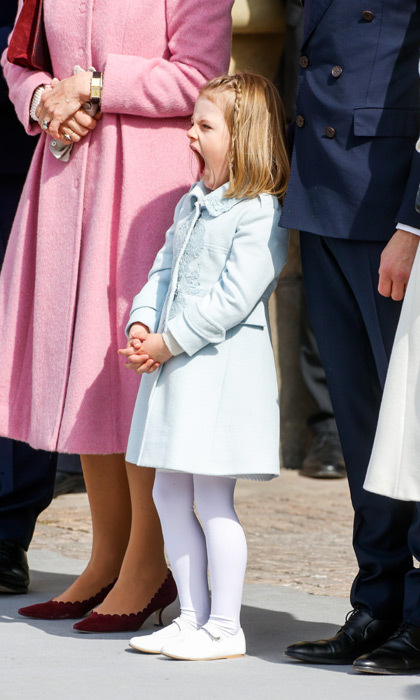 King Carl XVI Gustaf'S 70th birthday celebrations took their toll on Princess Estelle, who looked sleepy during the Swedish Armed Forces salute.