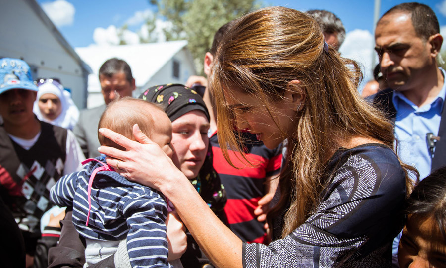 Queen Rania of Jordan traveled to the island of Lesbos in Greece to meet with Syrian Refugees that have fled their country.