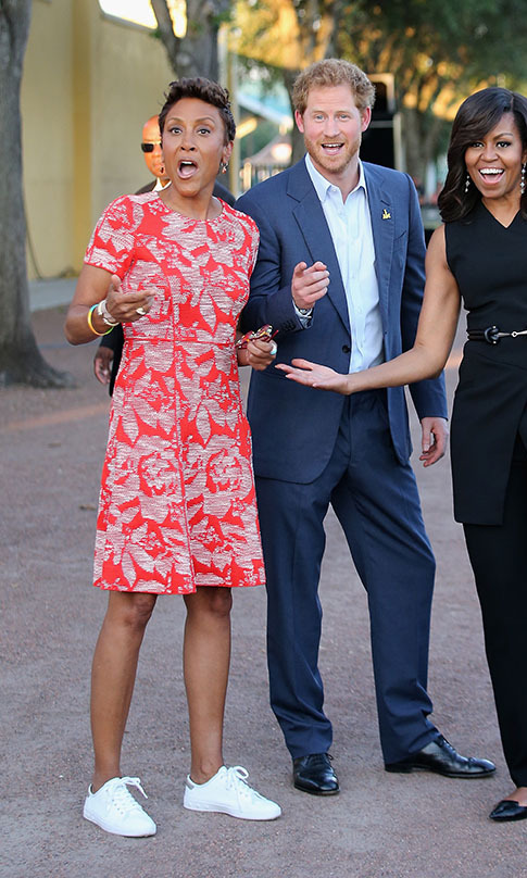 "The real life ""Prince Charming"" (Harry) had some fun with Michelle Obama and Robin Roberts. 
