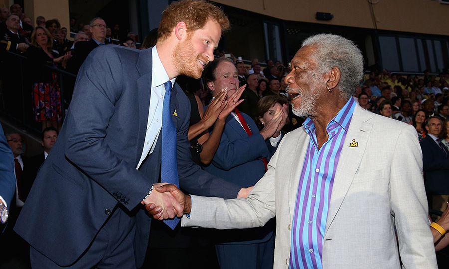 Prince Harry shook hands with actor Morgan Freeman during the opening ceremony of the Invictus Games. 