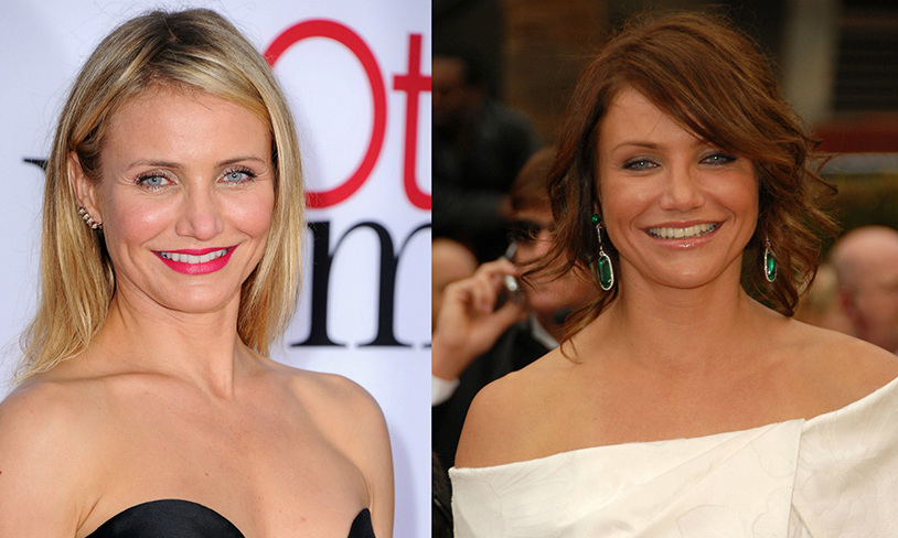 <b>Cameron Diaz</b> traded in her signature blonde for a pretty amber-toned brown color. 