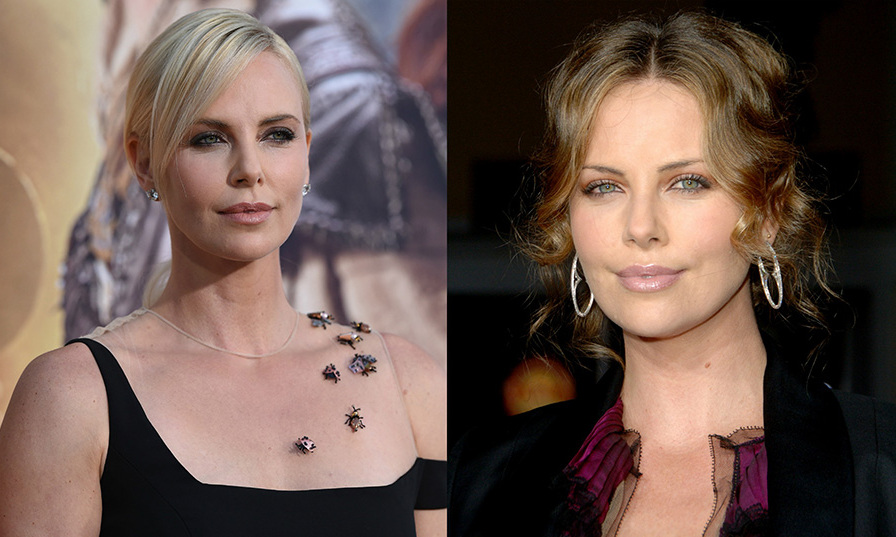 <b>Charlize Theron</b> kept a lighter shade, though she's gone from dirty blonde to full platinum.