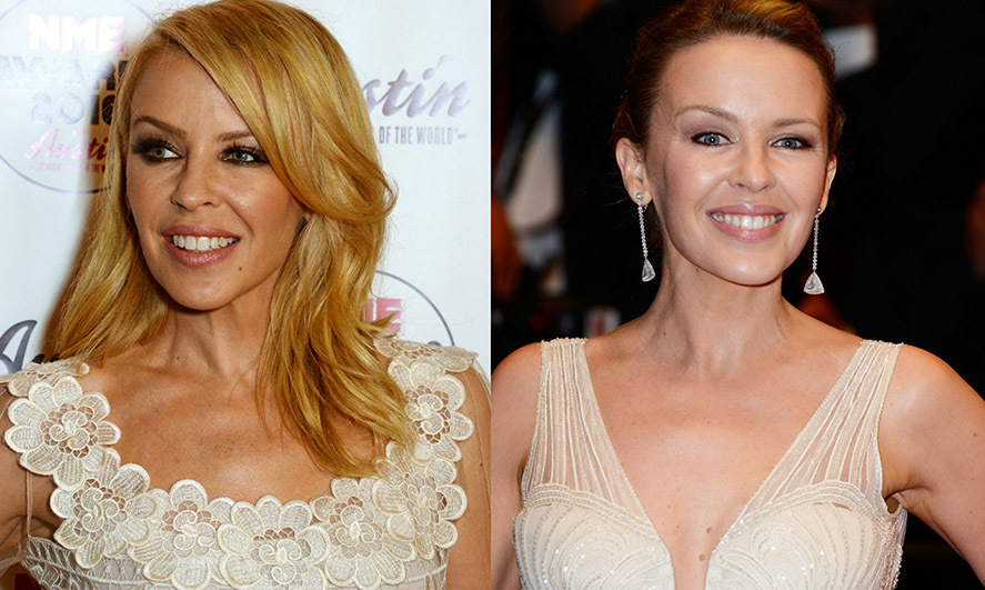 <b>Kylie Minogue</b> wasn't afraid to trade her signature sunny hair color for a deeper shade. 