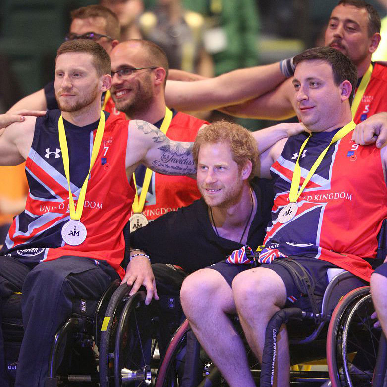 Team huddle! The fun royal posed with Team UK basketball players after they took home the silver medal on the final day of the 2016 Invictus Games.