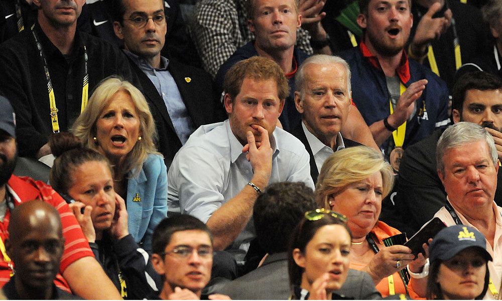 The United States versus Denmark wheelchair rugby match was a real nail biter for Prince Harry who was joined by Vice President Joe Biden and his wife Jill Biden.