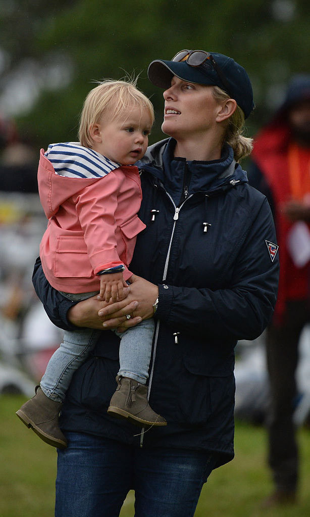 Zara had her adorable little girl thinking pink while they were out in Loch Tay, Scotland.