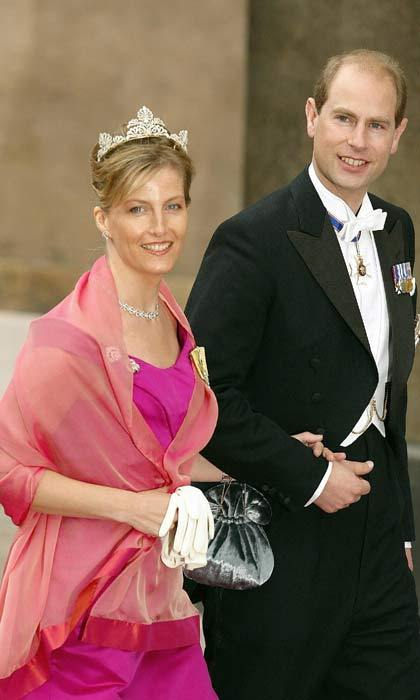 Representing the British royal family, the Count and Countess of Wessex traveled to Copenhagen for the Danish nuptials. Prince Edward's wife looked stunning in a floor length magenta gown accessorized with a shimmering coral shawl.