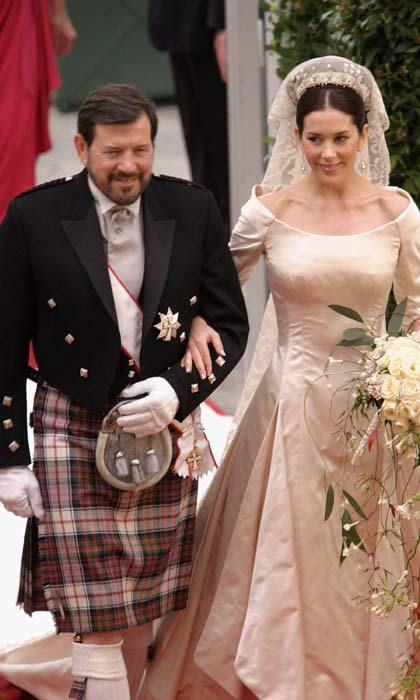Staying true to his roots, Mary's Scottish father, mathematician John Donaldson, wore a traditional kilt as he walked his daughter down the aisle to meet her waiting husband-to-be.