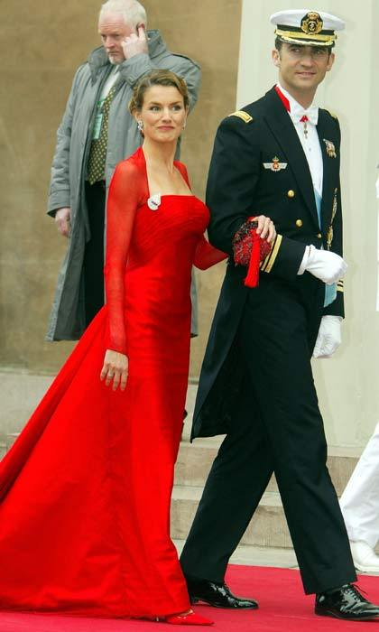 The then Prince Felipe of Spain arrived at the  cathedral accompanied by his girlfriend Letizia Ortiz. A week after the Danish nuptials, the Spanish couple had their own royal wedding when they tied the knot in a beautiful ceremony in Madrid.