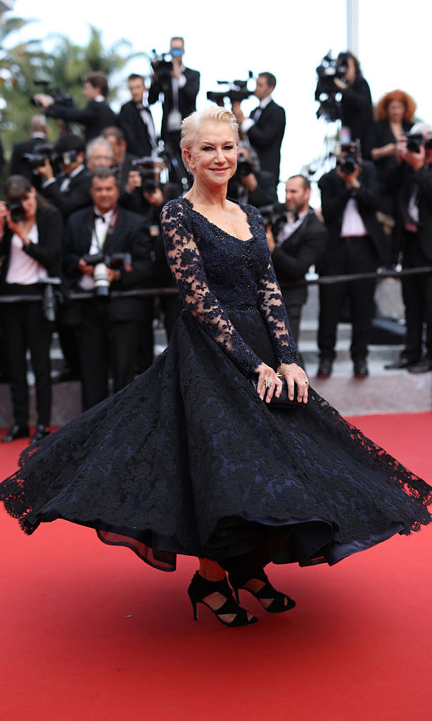 Twirling in lace! Helen Mirren stunned in a black and blue number at <i>The Unknown Girl</i> premiere during the 2016 Cannes Film Festival.