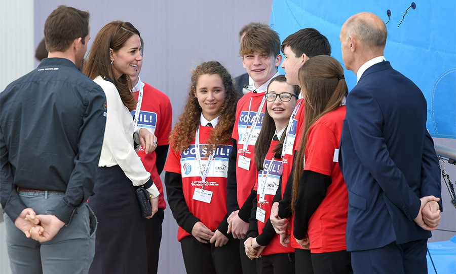 As part of the visit the Duchess also met with a group of local schoolchildren who are taking part in the #STEMCREW digital workshops. The project focuses on the science, technology, maths and engineering that happens prior to and during the sailing challenge, the America's Cup.