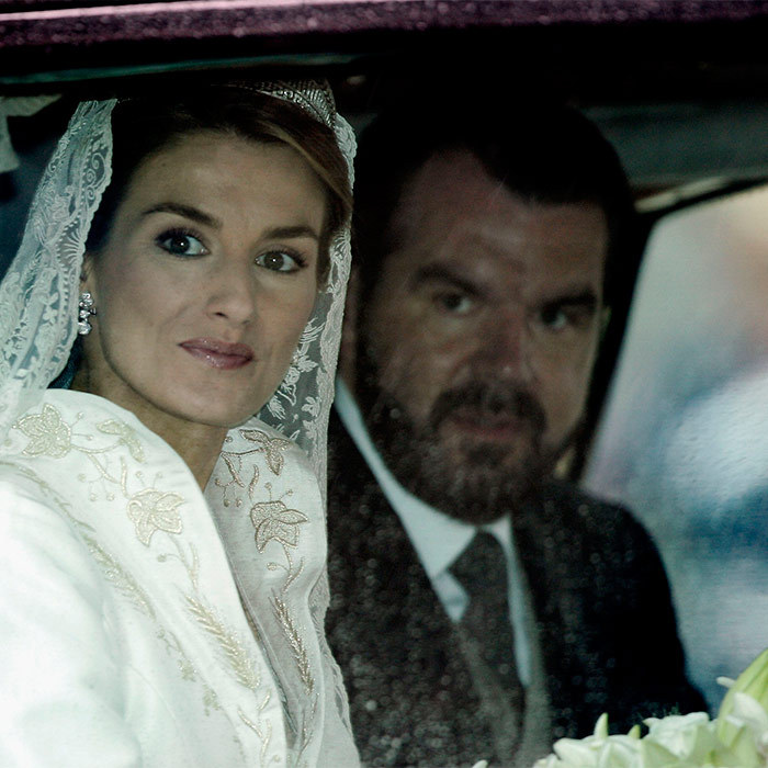 No pre-wedding jitters here. Letizia looked calm and collected as she rode with her father, Jesús José Ortiz Álvarez, to Almudena Cathedral to wed her Prince.