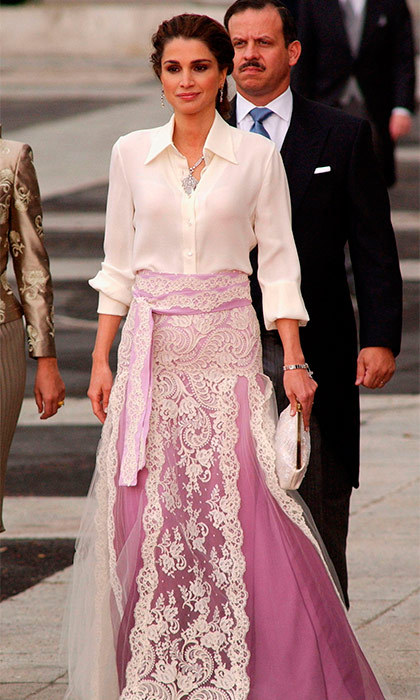 Queen Rania of Jordan was one of the few women to wear a floor-length outfit; hers was by Givenchy couture. The royal's husband, Abdullah II of Jordan, was unable to attend the wedding, so the Queen was accompanied by her mother-in-law, Princess Muna.