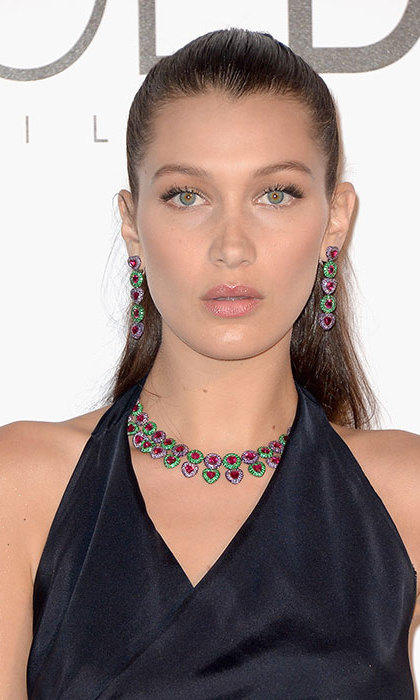 Bella Hadid mastered the ponytail trend with this sleek hairstyle, keeping her makeup to a bare minimum to show off her radiant complexion.
