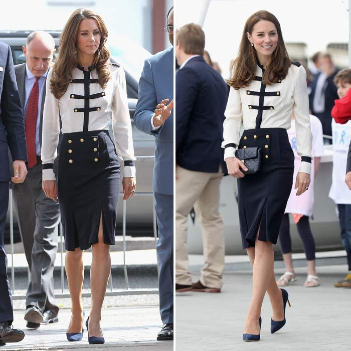 Almost identical looks! Attending a fun sailing engagement on Friday Kate chose one of her favorite Alexander McQueen skirt and top combos. The Duchess was spotted wearing this exact same outfit, including the same shoes and accessories, five years ago in Birmingham during a joint engagement with Prince William.