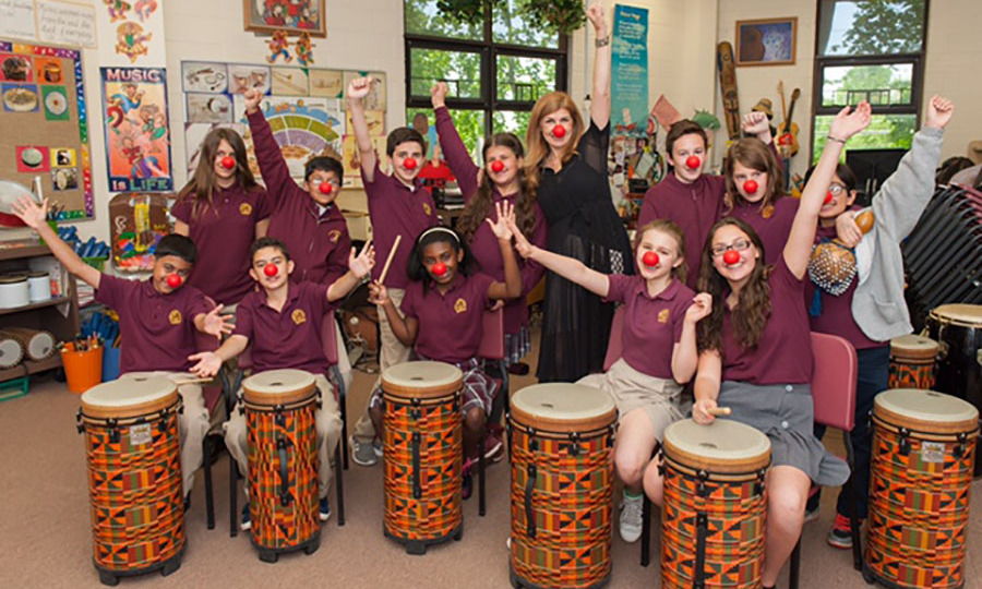 May 18: Something is funny! Connie Britton hosted a virtual field trip at the Staten Island Academy to raise awareness about the issue of poverty and inspire students to take action ahead of Red Nose Day.