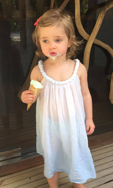 We all scream for ice cream! Princess Leonore made a little mess with her frozen treat in this photo captured by her mother Princess Madeleine.