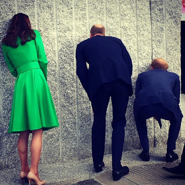 Take a peek! William, Kate and Harry had some fun exploring the Antithesis of Sarcophagi exhibit. The fixture is a 44-tonne granite cube containing a woodland scene.
