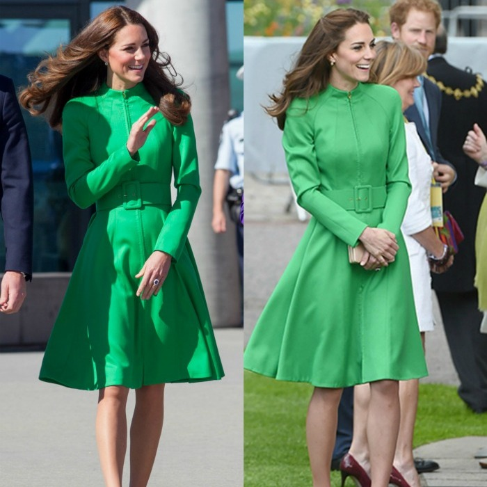 Double take! Kate first wore this green Catherine Walker coat dress during her royal tour of Australia in 2014, left. She must have loved the look, because she nearly duplicated it – minus having her hair partially swept back – in spring 2016 during the Duchess' first appearance the Chelsea Flower Show. 