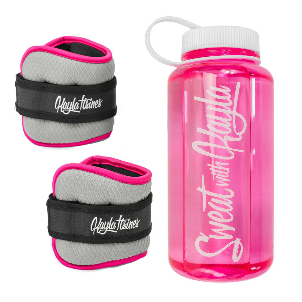 Kayla Itsines Ankle Weights, from $22, and Kayla Itsines 1L Drink Bottle, $18, kaylaitsines.com