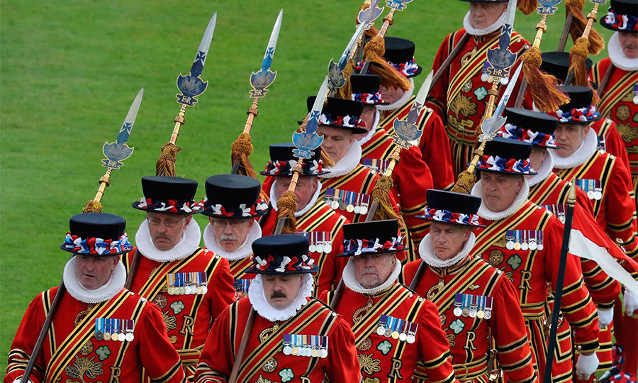 As part of the pomp and circumstance Yeoman Warders of Her Majesty's Royal Palace, popularly known as Beefeaters, formally paraded past the guests during the day.