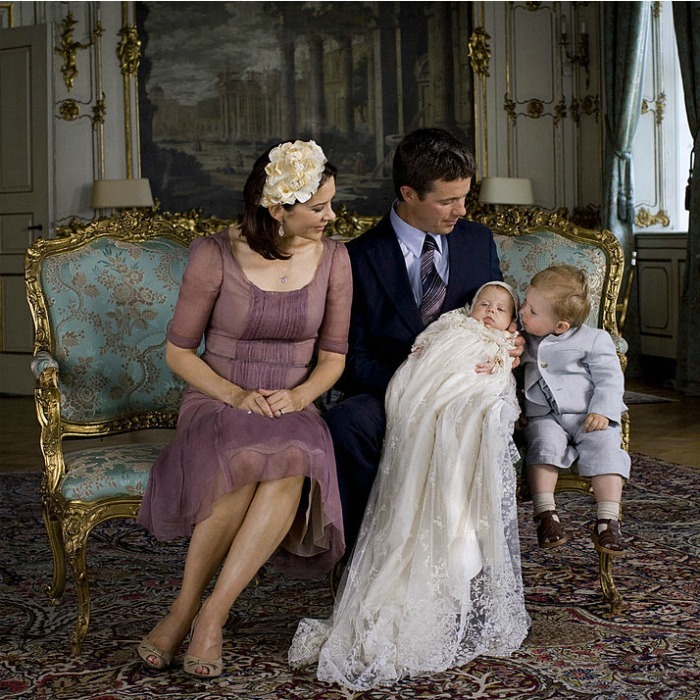 Proud parents. Mary and Frederik looked on at their son Prince Christian kissing their daughter Princess Isabella on her christening day in 2007.