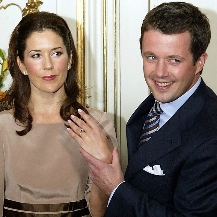 He's the luckiest guy in the world! Crown Prince Frederik of Denmark beamed with pride showing off Mary's engagement ring during a press conference in Copenhagen.