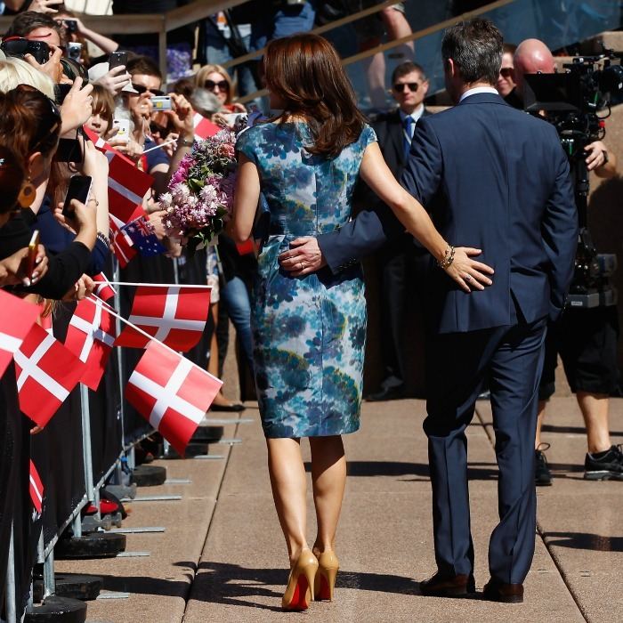 They've got each other's backs. Mary and Frederik held on to one another in 2013, while meeting school children at the Opera House forecourt in Sydney, Australia. 
