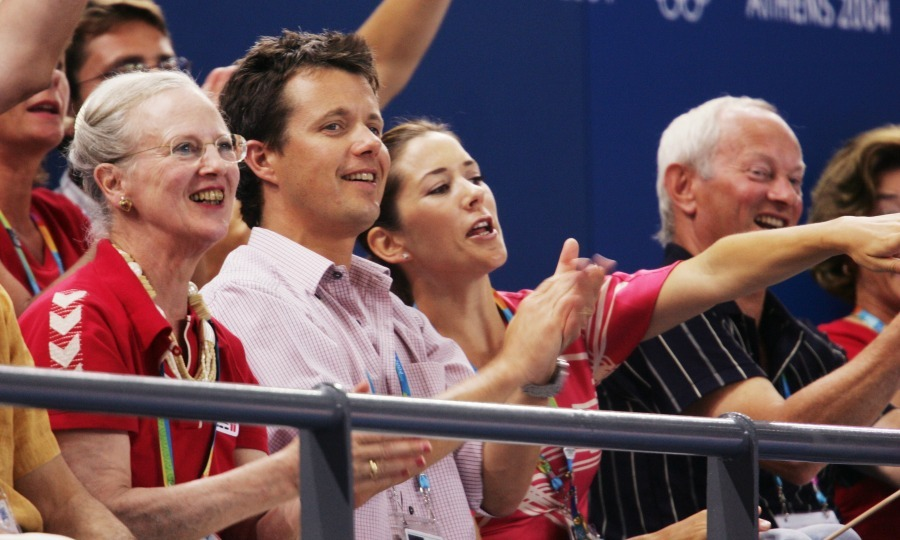 The royal pair took their love to Athens in 2004 for the summer Olympics, where the viewed the Women's Handball quarterfinals with Queen Margrethe of Denmark.