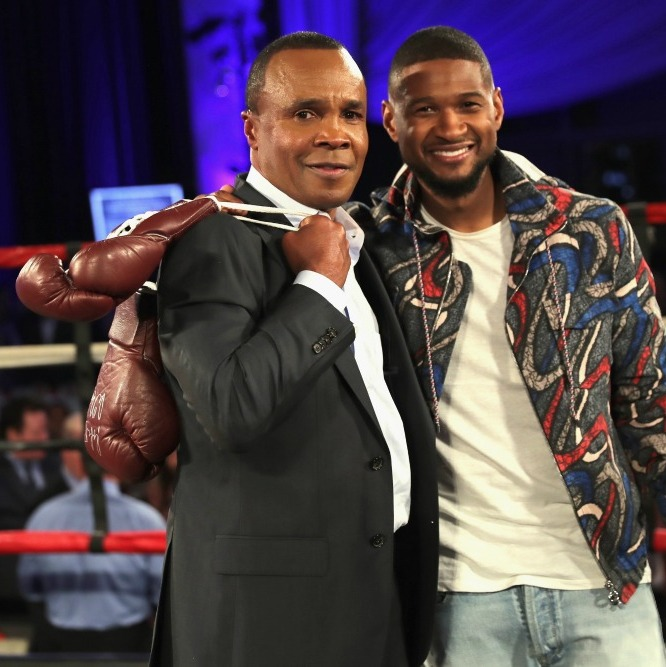 May 25: Knock out good looks! Usher and Sugar Ray Leonard attended the B. Riley & Co. and Sugar Ray Leonard Foundation's 7th Annual Big Fighters, Big Cause charity boxing night in Hollywood. 