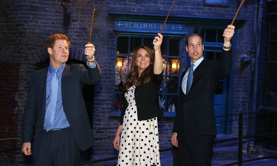 Move over Harry [Potter], Hermione and Ron — there's a new magical trio in town. The royals put their wizardry skills to the test playing with wands at the Harry Potter studios  during the Inauguration of Warner Bros. Studios Leavesden in 2013.