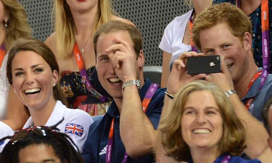 The Cambridges and Harry got into the Olympic spirit attending the men's team sprint track cycling during the 2012 London games.